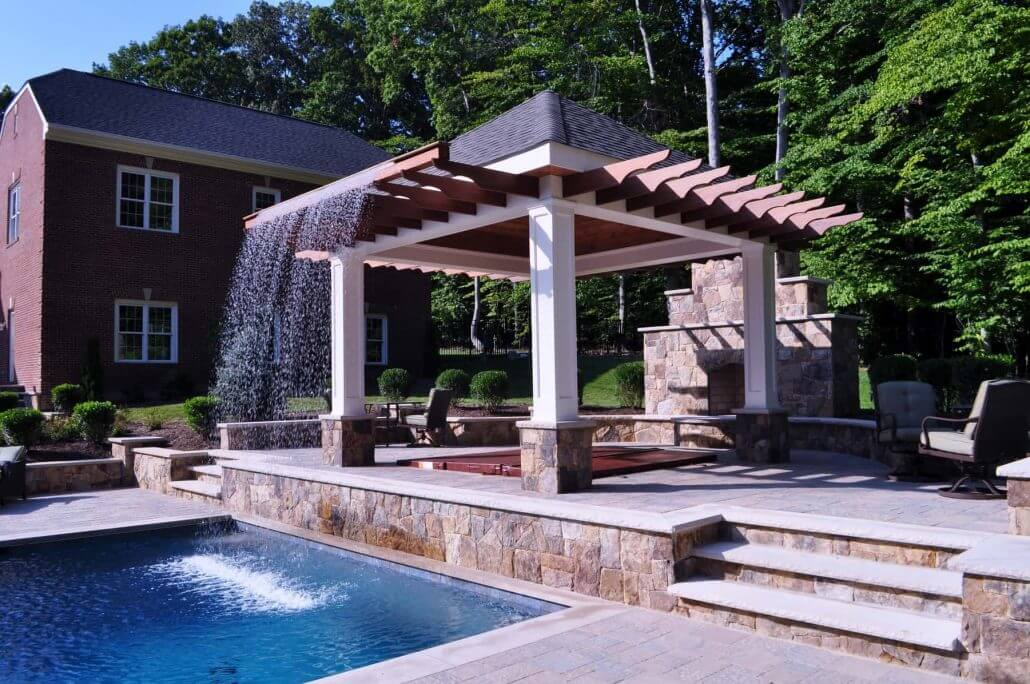 Mediterranean Style In Ground Pool Fire Bowls Hot Tub