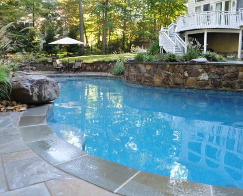 Custom In-ground Pool, Natural Stone Retaining Wall, Annapolis