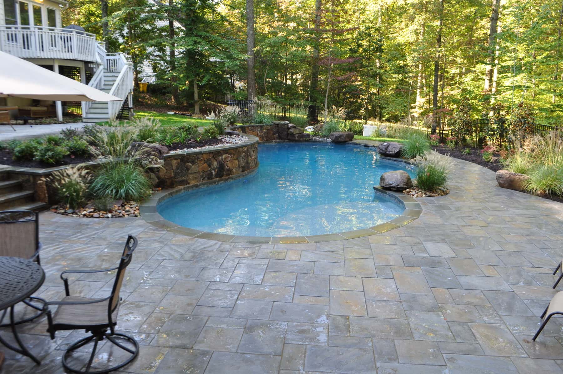 Natural Stone Pool Deck Stunning Freeform Pool Natural Stone Pool Decking  Annapolis Md