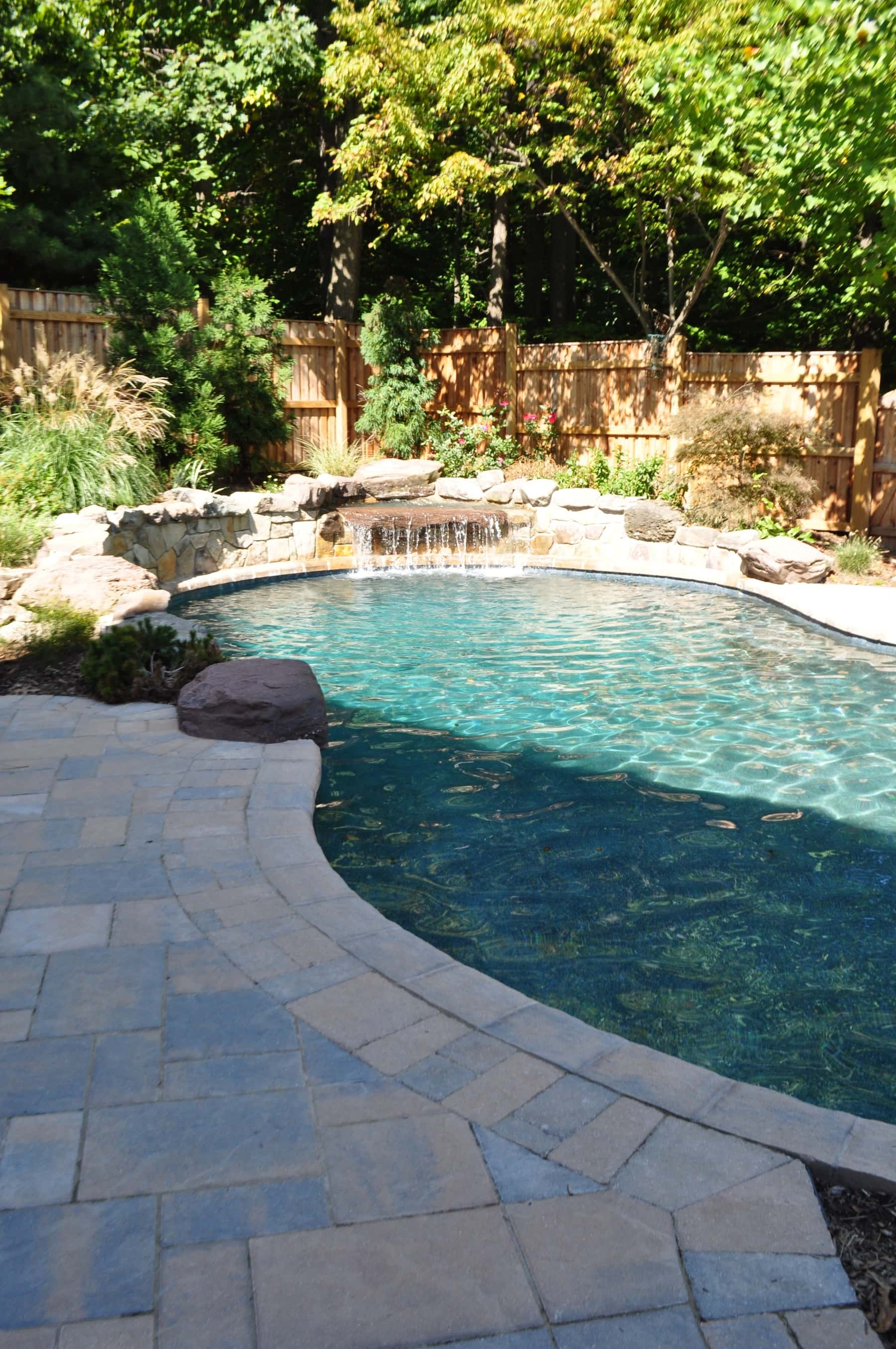 Freeform Pool Waterfall Raised Stone Walls Baltimore Md