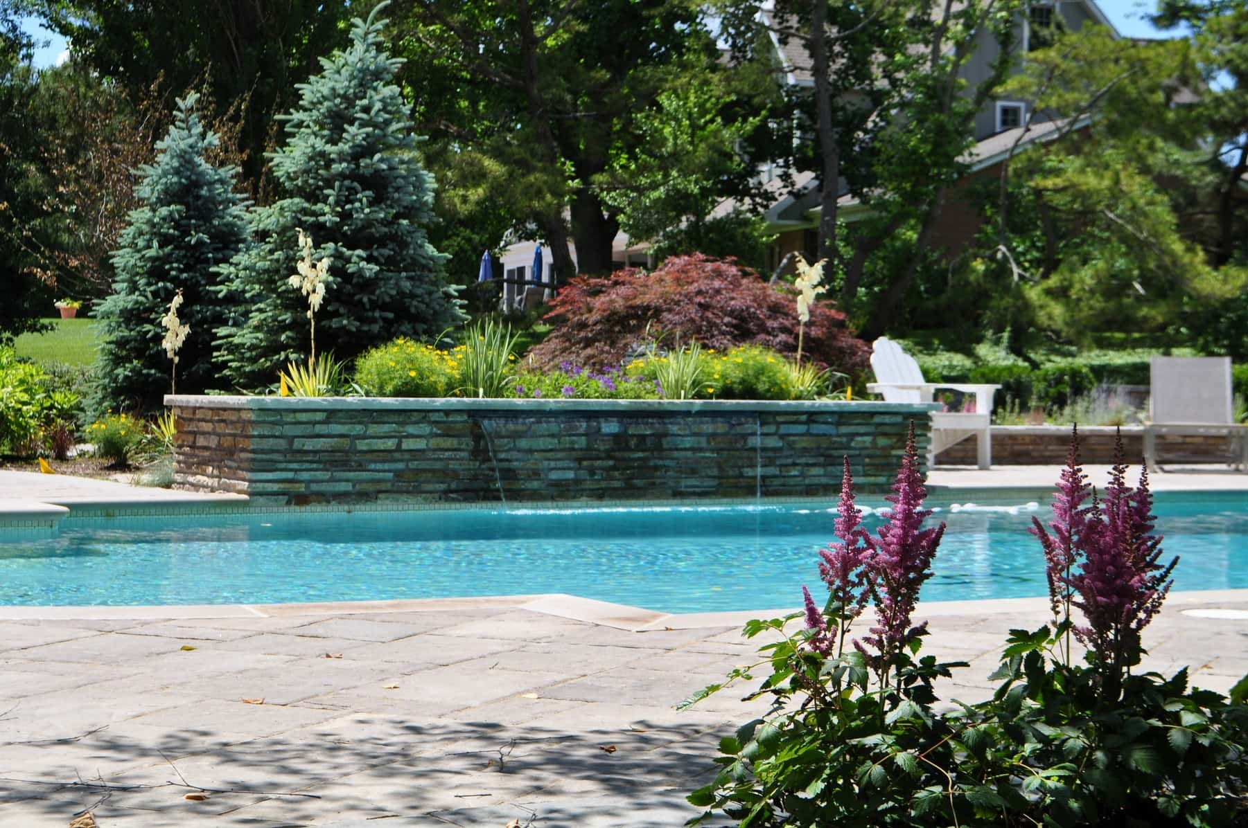 in ground swimming pool. Grecian Style Custom Pool, Fire Pit Terrace, Outdoor Recreation, Retaining Wall \u2013 Baltimore, MD. In-ground In Ground Swimming Pool