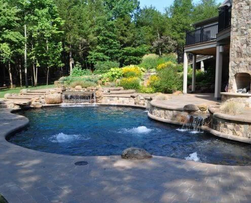 Lagoon Style Pool, Water Features, Fireplace, DC
