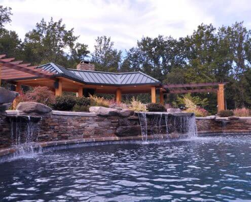 inground pool waterfall pergola Washington DC