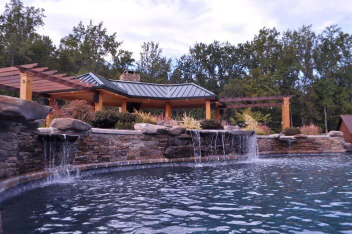inground pool waterfall pergola Washington DC
