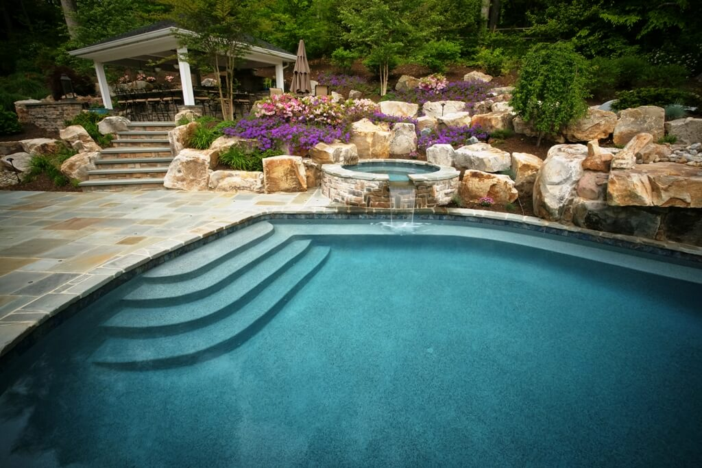 Custom Pool With Boulders And Landscaping Davidsonville, MD