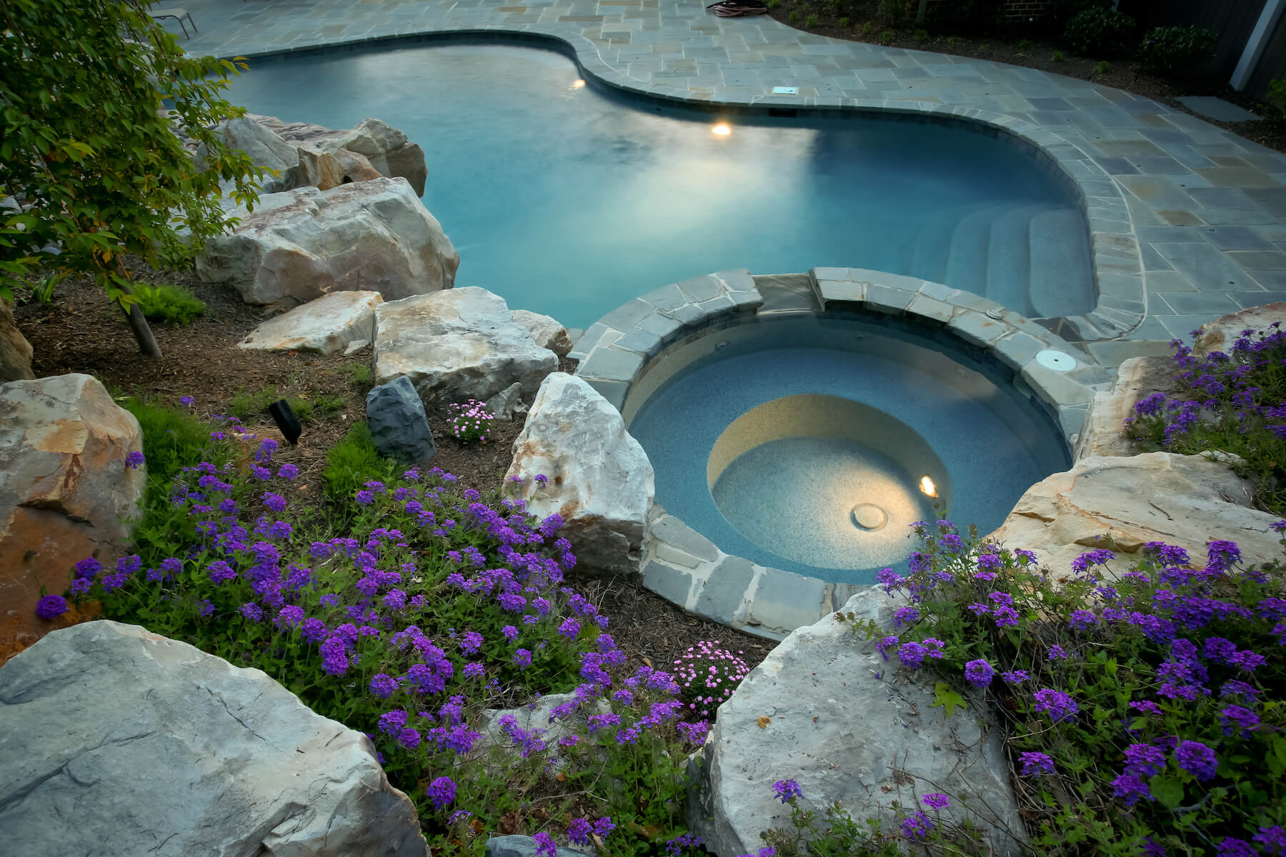 Custom Pool And Spa With Landscaping