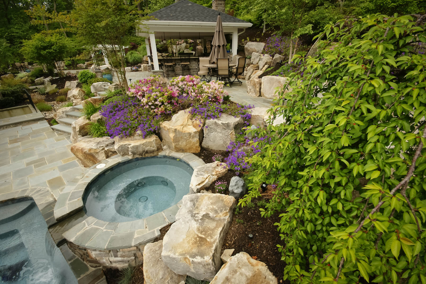 Spa with landscaping and pavilion Davidsonville, MD