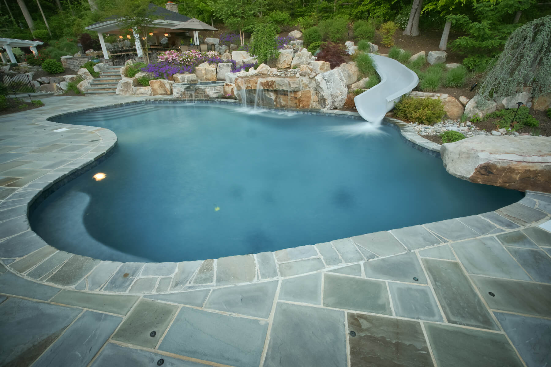 Freeform pool with paver patio