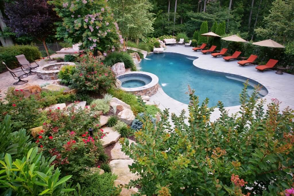 Freeform Pool With Spa and Landscaping