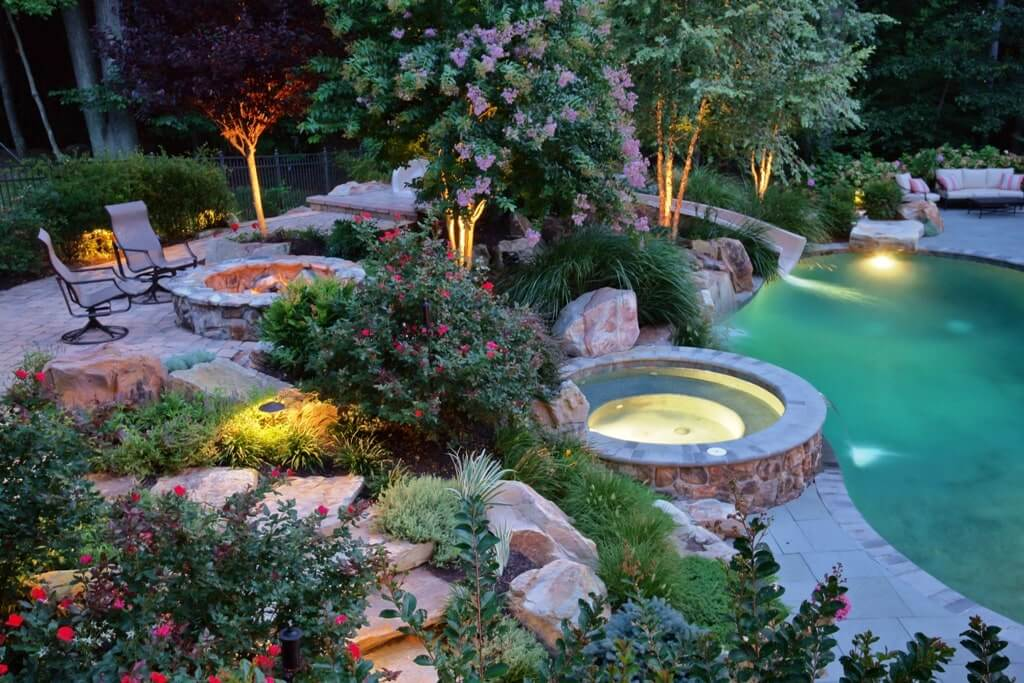Pool With Spa, Landscaping, and Fire Pit