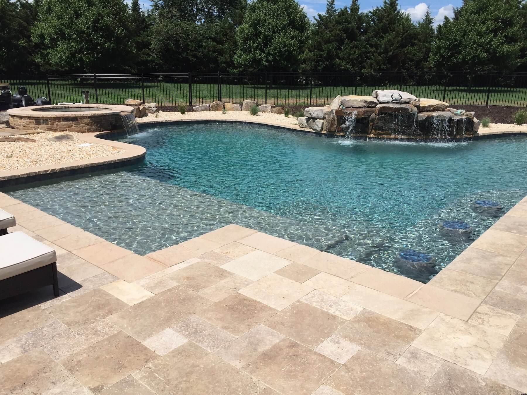 Custom Pool And Spa With Paver Patio