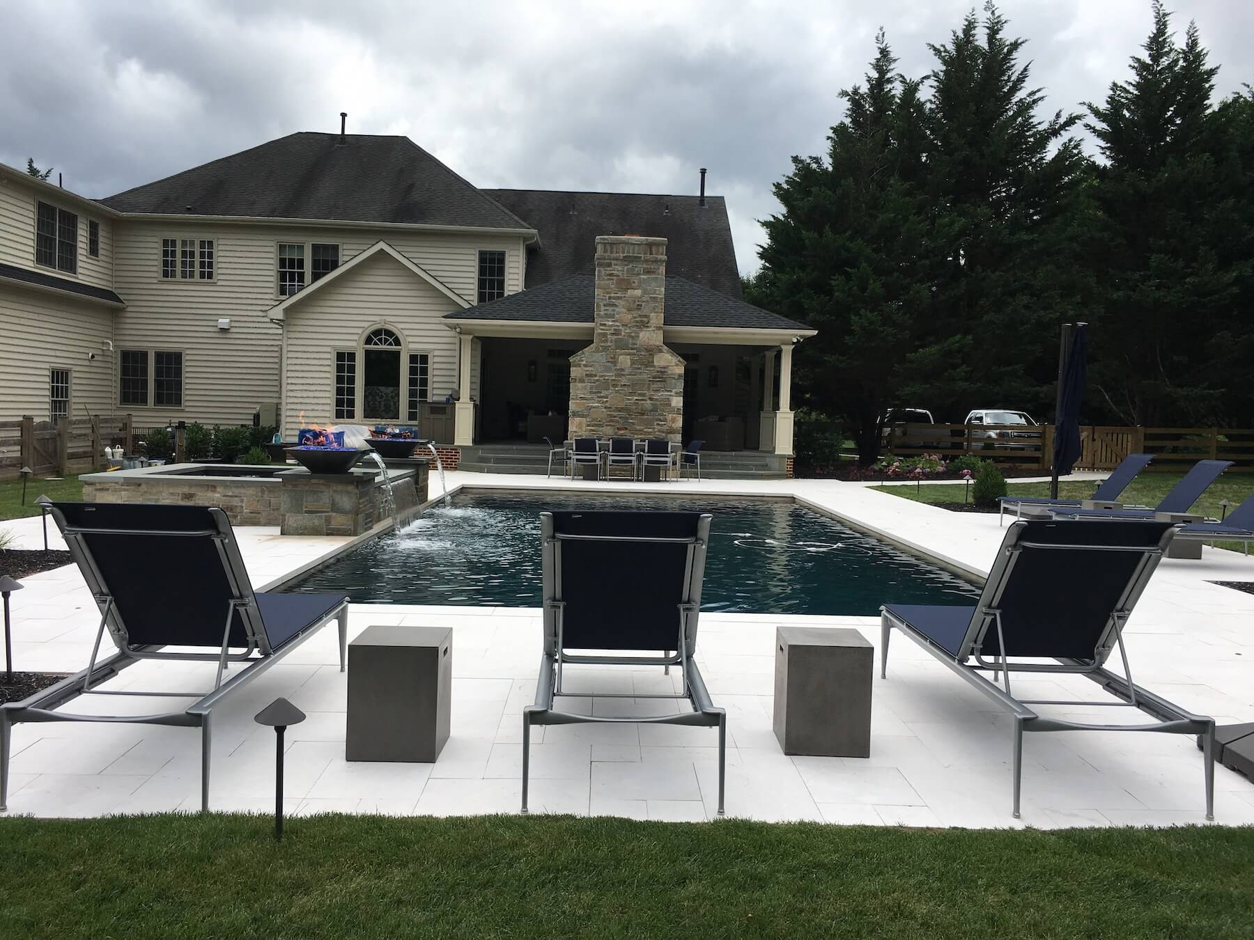 Custom Pool With Pavilion And Water Features