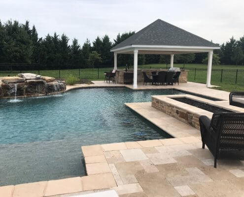 Custom Pool With Pavilion And Waterfall