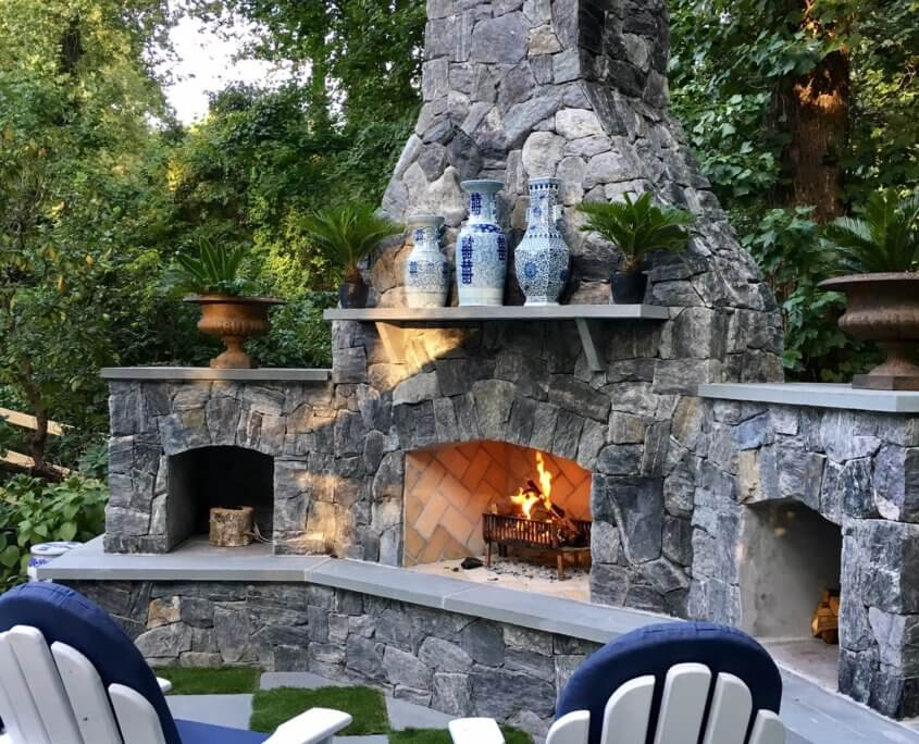 Wood Burning Outdoor Stone Fireplace Arnold, MD