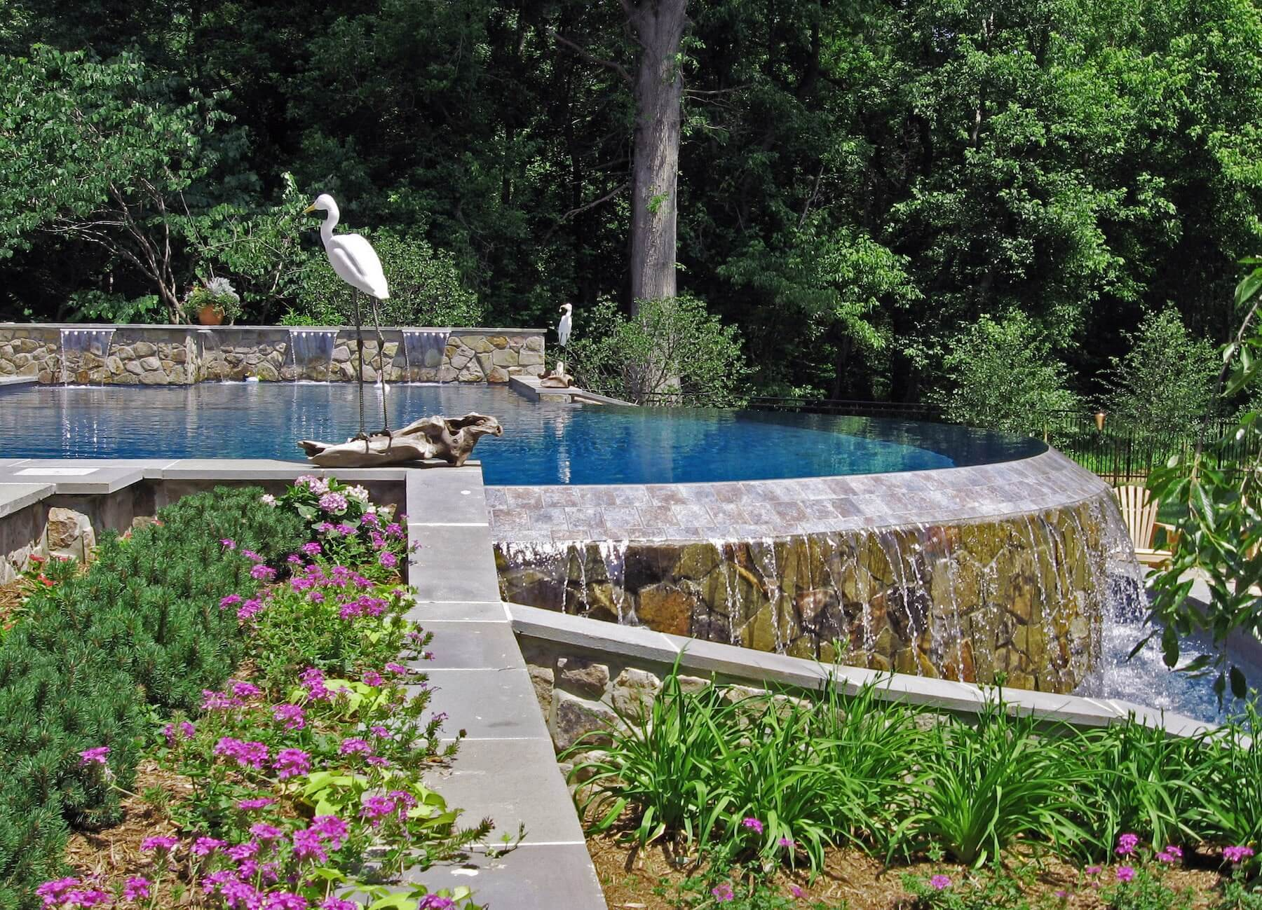 Infinity Pool With Waterfall And Landscaping Clarksville MD