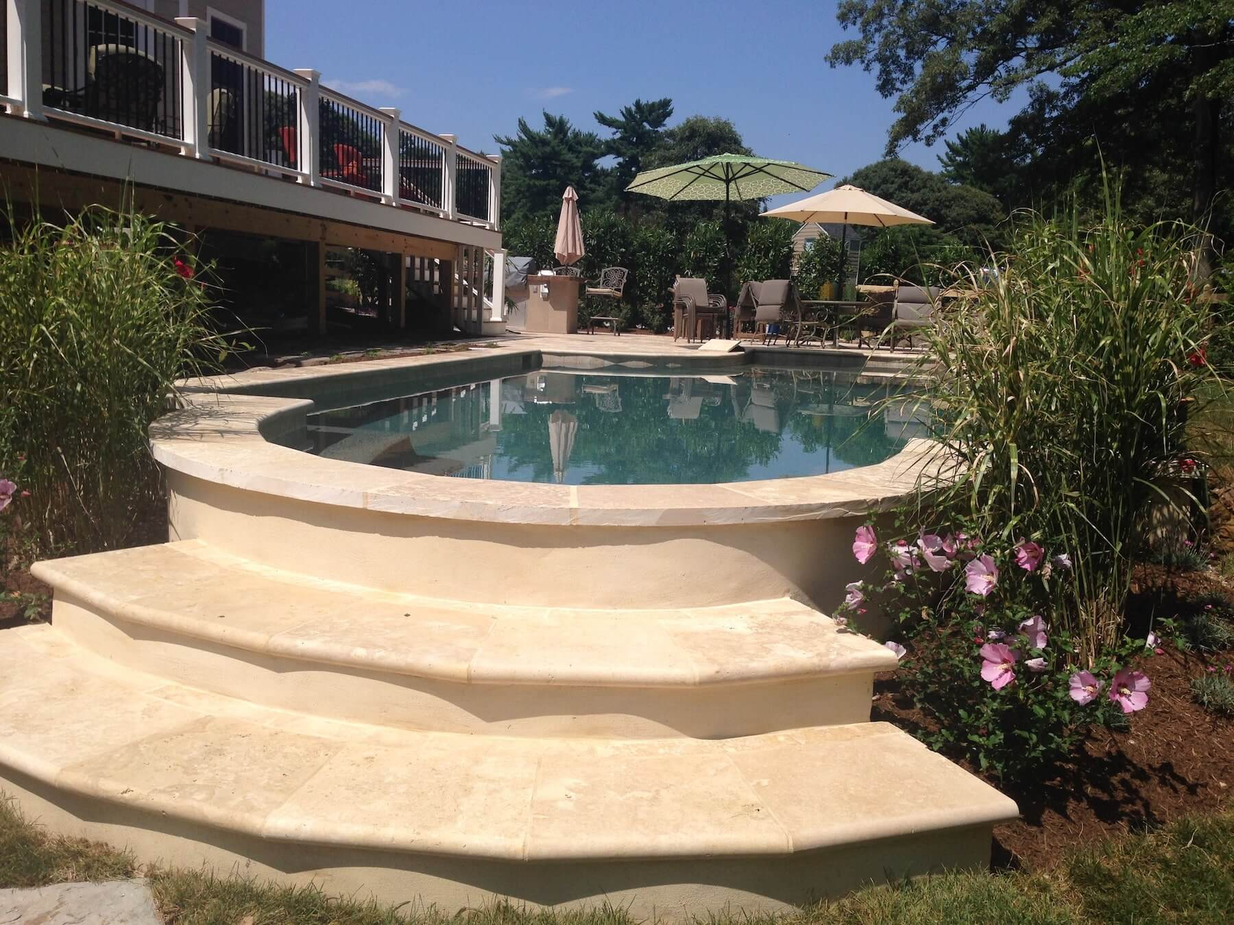 Pool With Stone Stairs and Landscaping Severna Park MD