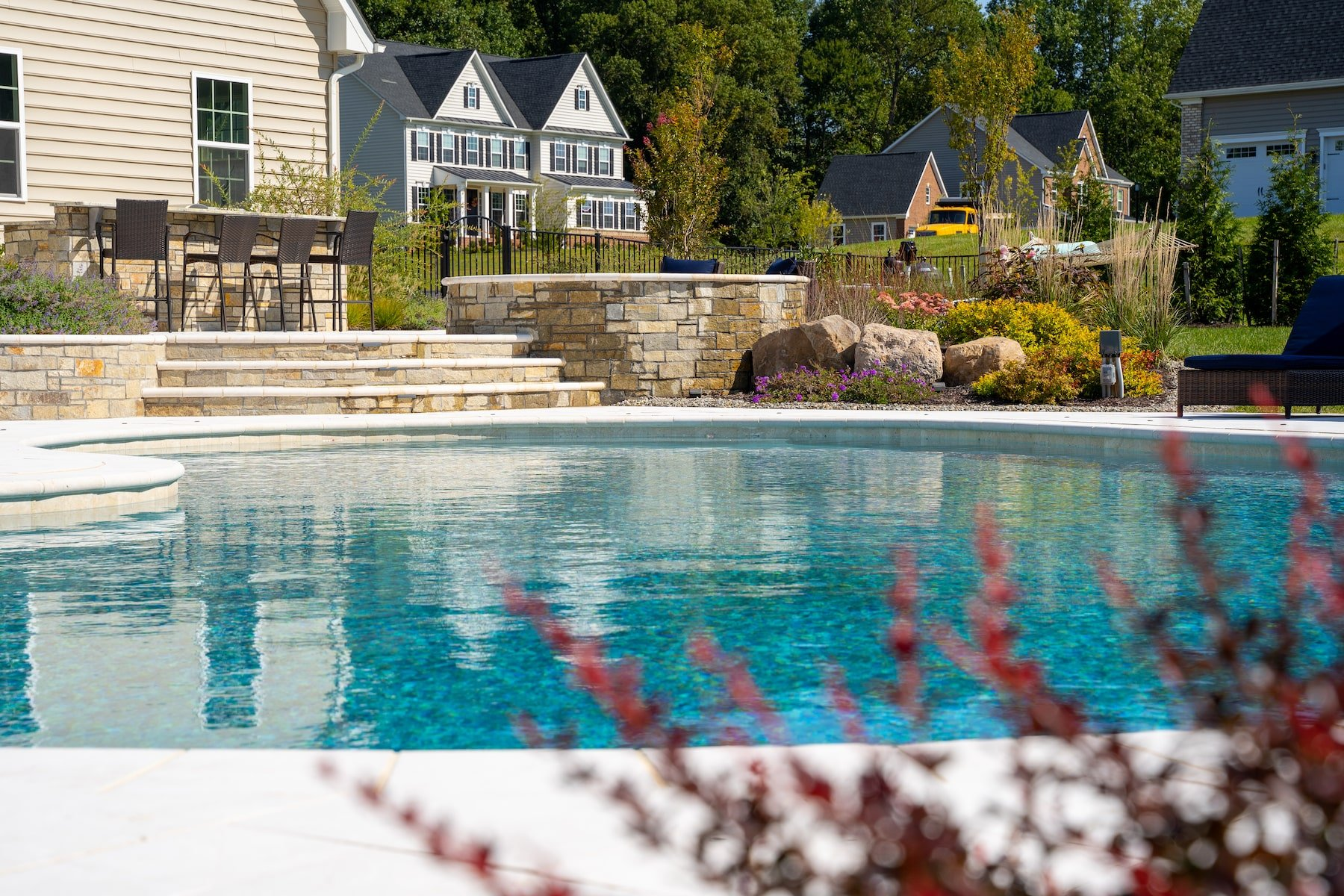 outdoor kitchen custom pool and spa patio landscaping clarksville md